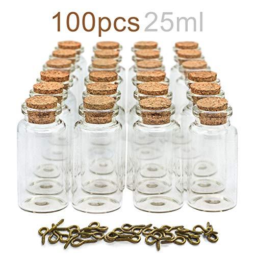 RUBY - 100 Botellas de Deseo 30 x 60mm(25 ml Aprox) Mini Botellas de Cristal con Tapones de Corcho, Mensaje, Deseo de Fiesta de Bodas. (100 unids)