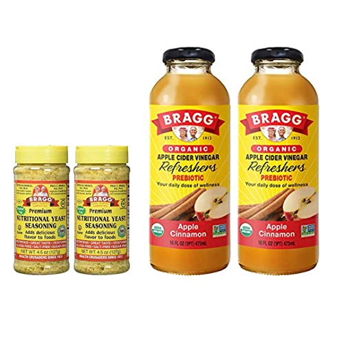 Bragg Nutritional Yeast Seasoning 4.5 Oz Pack of 2 and Bragg Organic Apple Cinnamon Vinegar Drink 16 Oz Pack of 2 Bundle
