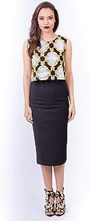 Opera Mixed Materials Bodycon Dress for Women, Multi Color - 1712162