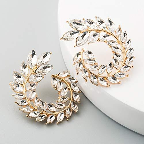 YCEOT Fashion Hollowing spiraal kleurrijk blad zeggen oorstekers en broche pin twee gebruiken Charm Strass Pierce Trendy oorbel
