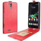 HualuBro Oukitel K6000 Pro Hülle, Premium PU Leder Leather HandyHülle Tasche Schutzhülle Flip Hülle Cover für Oukitel K6000 Pro Smartphone (Rot)