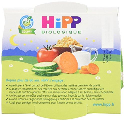 Hipp Biologique Mon Dîner Bonne Nuit Carottes Patate Douce Semoule dès 12 mois - 8 bols de 220 g