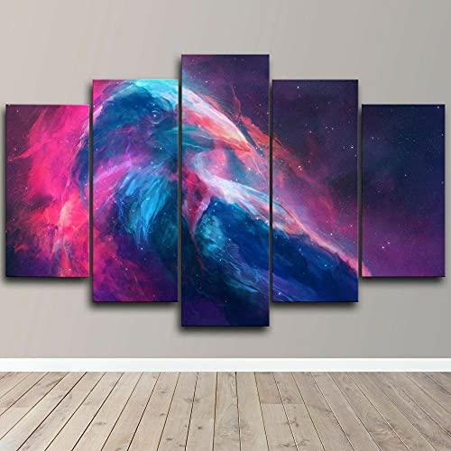 AWER 5 piezas de lienzo de arte de pared Lienzos Cuadros Impresos Raven Space Galaxy Stars Artística Imagen Gráfica Wall Art Panel Cuadros Modernos Decorativo para Tu Salón o Dormitorio