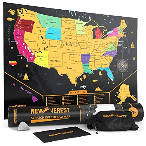 Newverest Scratch Off United States Map - Detailed USA Scratch Off Map Travel Art Poster, Fits 24' x 17' Frame, Comes with Scratch Tool, 20 Push Pins,...