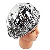 3ピースシャワーキャップ断熱アルミホイル帽子、女性ヘアサロン浴室用弾性入浴キャップ、孤立した焼きたて油暖房ヘアケア再利用可能な調整可能 (Silver)