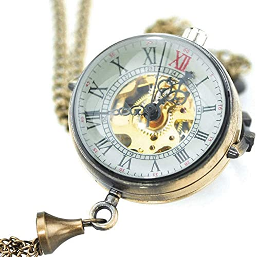 EURYTKS Reloj de Bolsillo Pequeño y Lindo Diseño de Campana Especial Reloj mecánico de Bolsillo con Cadena Hombres Mujeres Moda Vestido de joyería