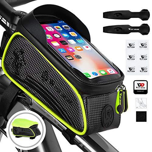 Fahrrad Rahmentasche Wasserdicht, Lenkertasche Reflektierend, Handyhalterung Oberrohrtasche mit TPU-Touchscreen Kopfhörerloch für Smartphone unter 6,5 Zoll