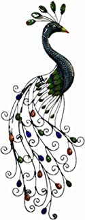 FENFOUBA Metal Art Peacock Wall Decorative Sculpture with Colorful Jewelled Tail ,for Indoor and Outdoor Garden Artwork 37x15 Inch