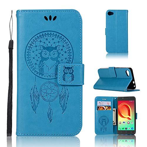 JARNING Kompatibel mit Alcatel A5 LED Leder Schutzhülle PU Leder Wallet Flip Hülle Tasche Lederhülle mit Kartenfach für Alcatel A5 LED (blau)