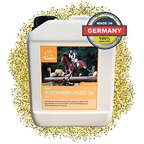 EMMA® lijnzaadoliepaarden I lijnzaadoliehonden I lijnzaadolie glanzende vacht van geplette vlaszaden I Omega 3 6 9 Koudgeperste olie voor paarden 2,5 liter