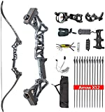 TOPOINT ARCHERY Ship from USA Warehouse Takedown Recurve Bow Package R3 Ready to Shoot Archery Set for Bow Hunting (Ghost, 50LB)