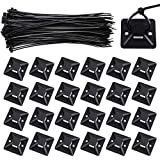 Zip Ties and Mounts, Viaky 120 Pcs 8 Inch Self-Locking Nylon Cable Ties with 120 Pcs Adhesive-Backed Mounts Screw Hole Anchor Wire Tie Base(1.1' x 1.1'), Black