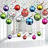 30 Pieces Christmas Light Bulb Hanging Swirls Christmas Ball Foil Swirls Hanging Ceiling Decorations for Indoor Outdoor Christmas Light Bulb Party Xmas Party Decoration Accessories