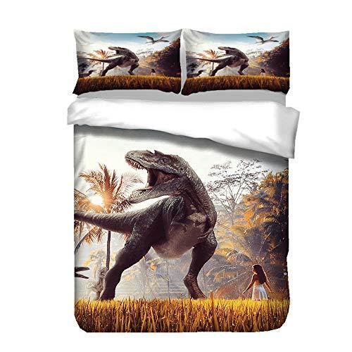 Sticker Superb Funda Nórdica de Dinosaurio 3D, Tiranosaurio, Funda Nórdica de Caza de Dinosaurio Dinosaurio Marino, Adecuada para Camas 90/105 cm (Tiranosaurio B, 180_x_220_cm)