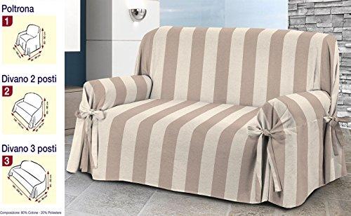 Cubresofá para sofá de 3plazas, tela jacquard de mezcla de algodón. Color beis a rayas. Versátil, con lazos