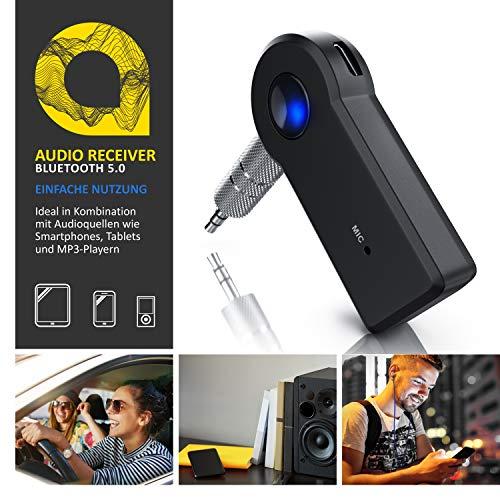CSL - Bluetooth Empfänger - Audio Receiver - 3,5 mm Aux Input - eingebauter Akku - Wireless Audio Adapter - Audiogerät für Heim HiFi KFZ Autoradio Kopfhörer Lautsprechersystem Soundsystem