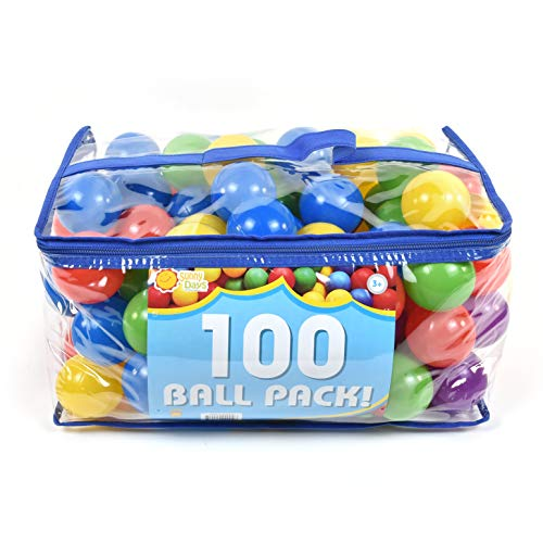 Sunny Days Entertainment 100 Count Ball Pit Refills, Phthalate & Bpa Free, Crushproof Plastic in Assorted Colors, Multi