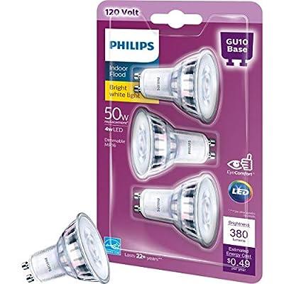 Philips LED GU10 Dimmable 35-Degree Spot Light Bulb: 400-Lumen, 3000-Kelvin, 6-Watt (50-Watt Equivalent), Bright White, 3-Pack