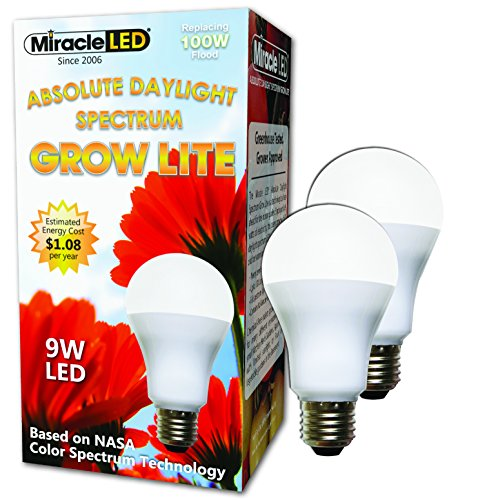 Miracle LED Absolute Daylight Spectrum Grow Lite-Replaces up to 100W-Daylight White Full Spectrum LED Indoor Plant Growing Light Bulb for DIY Horticulture,Hydroponics and Indoor Gardens(604269)2 Pack