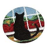50 x 50 cm DIY Handgemachte Lovely Cartoon Teppich Knüpfteppich Kits Anzug für Heimtextilien Kissen Stickerei Basteln Weihnachten Geschenk schwarze katze