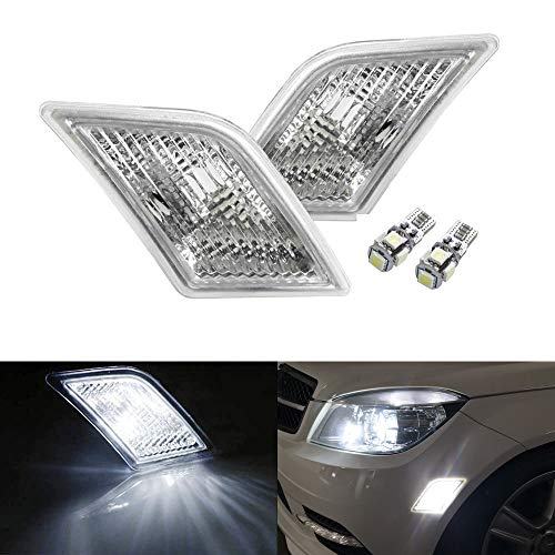 iJDMTOY Euro Clear Lens White LED Bulb Front Side Marker Light Kit Compatible With 2008-11 Mercedes Pre-LCI W204 C250 C300 C350 & 2008-2013 C63 AMG, Replace OEM Amber Sidemarker Lamps