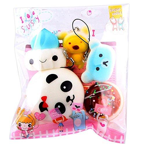 Joykith Mini Soft Cake Bread Toys Set Slow Rising Simulation Food Toy Key Cellphone Chain Bread/Buns Phone Charm Key Chain Strap Child Gift (Random Colour)