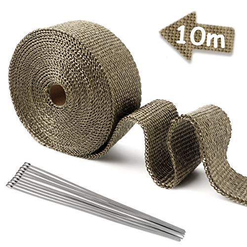 ESUPPORT 2 x 50 Fiberglass Roll Black Racing Exhaust Header Pipe Wrap Tape 6 Ties Car 5CM X 15M