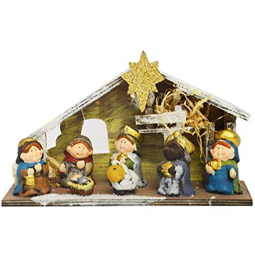 R.P. Presepe Completo in Ceramica da Tavolo - Statuine Natalizie presepe RIFUGIO Capanna NATIVITA' con LED - Idea Regalo Natale