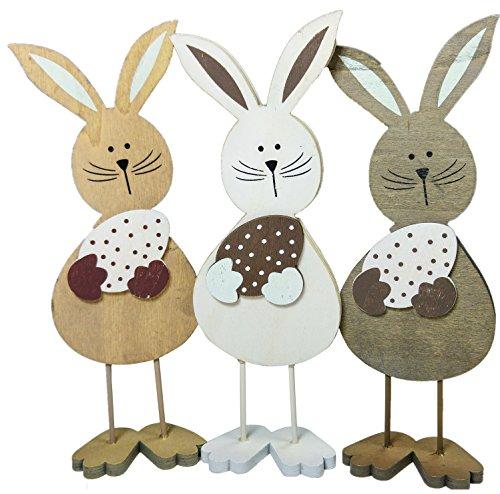 khevga Statuetta coniglio in legno decorazione coniglietto pasquale (set di 3)