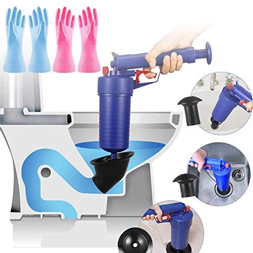 Toilet Plunger Set, Snake Tub Drain Cleaner Opener Air Drain Blaster Gun Bellows Plunger for Sink Bath Toilets Pipe Bathtub with 2Pair Rubber Gloves