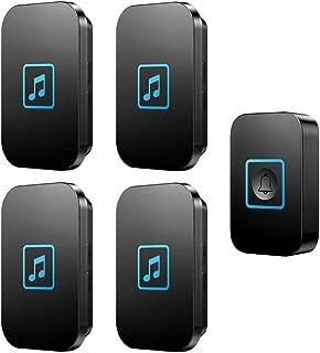 Wireless Doorbell, IP44 Waterproof Doorbells with 300M Range,1 Push Button And 4 Receivers with LED Flash,60 Ringtones,5 V...