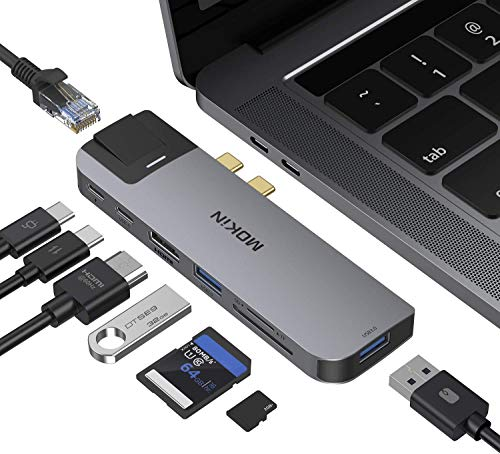USB C Hub Adapter for MacBook Pro 2020/2019/2018,MacBook Air 2020/2019/2018, MOKiN 8 in 1 USB C to Ethernet Dongle Adapter with 4k HDMI, 2 USB, TF/SD Card Reader, USB-C 100W PD and Thunderbolt 3