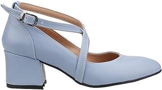 Ayakland 544-1121 Babet 5 Cm Topuk Bayan Cilt Sandalet Ayakkabı Mavi