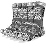 YUEDGE Wandersocken, 3/5 Paar atmungsaktive Laufsocken für Herren, Sport Socken mit Sohle & Knöchel, Anti-Blister Trainersocken Light Gray XL