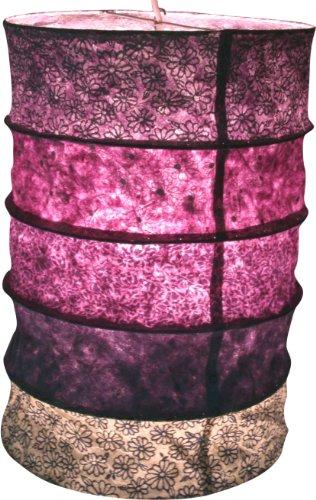 Guru-Shop Lámpara Colgante de Papel Redonda, Pantalla de Papel Lokta Everest, Papel Hecho a Mano - Morado, PapeldeLokta, 40x28x28 cm, Lámparas de Techo Asiáticas Lámparas de Papel Tela