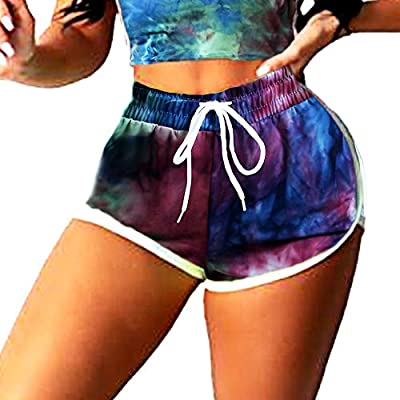 FITNEXX Women's Tie Dye Drawstring Workout Shorts Active Shorts Or Tops Striped Yoga Shorts Fitness Ultra Soft Hot Pants