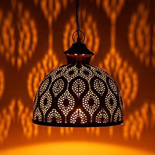 MAADES Orientalische Lampe Pendelleuchte Gold Afzal -2-32cm E27 Lampenfassung   Marokkanische Design Hängeleuchte Leuchte   Orient Lampen für Wohnzimmer, Küche oder Hängend über den Esstisch