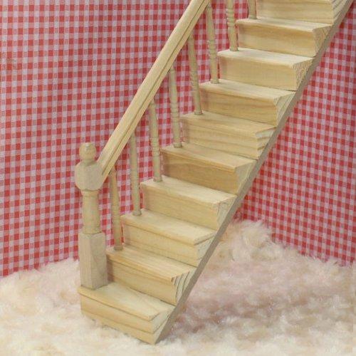 BeesClover Juguete DIY Paso de Escalón de Escalera de Madera Premontada con Muebles de Casa de Barandilla Izquierda para Casa de Muñecas 1:12: Amazon.es: Hogar