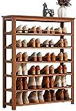 Organizador de Zapatos Almacenamiento de 7 Niveles Bambú Zapato Estante de Almacenamiento Soporte Soporte de reparación Permanente Zapatero Torre Gabinete para Clóset Capitor de guardarropa Corredor