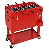 UPHA 68 Quart Rolling Patio Cooler for Outdoor Pool Party, Protable Cooler Cart on Wheels, Ice Chest with Shelf, Foosball Table Top and Bottle Opener, Red.