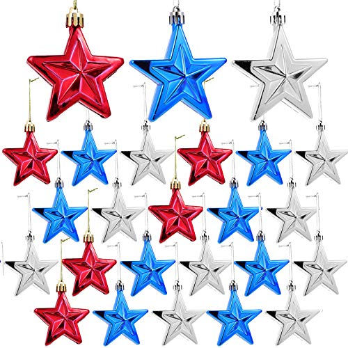 24pcs 4th of July Star Ornaments for Tree - Independence Day Star Hanging Ornaments Blue Red Mini Tree Ornaments for Independence Day Labor Day Christmas Tree Decor
