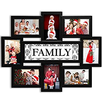 Jerry & Maggie - Photo Frame 22x17 Family Theme Black Picture Frame Selfie Gallery Collage Wall Hanging For 6x4 Photo - 8 Photo Sockets - Wall Mounting Design