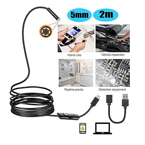 Portátil 5mm 2m Android Endoscopio cámara impermeable IP67 Soporte OTG y UVCSmartphone HD serpiente pequeña USB del endoscopio for el coche / CI / EarDetection para inspección de vagones de tuberías