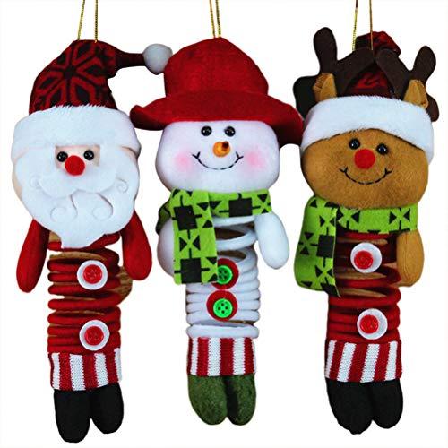 Amosfun 3 peças Enfeite de Natal para pendurar na primavera, enfeite de Papai Noel, decoração de porta de árvore, pingente, suprimentos para decoração de boneco de neve, Papai Noel