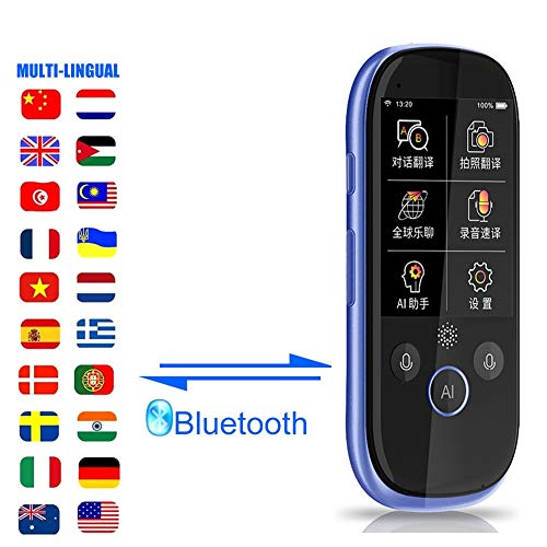 Evav-SLY Smart Language Translator, 75 Language translations, 2-Way Instant Digital Voice Translator Device, Touch Screen, Voice Recorder Intercom for Learning Travel Shopping Business (Color : Blue)