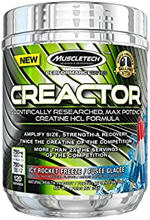 Muscletech Creactor Max Potency Creatine Powder, ICY Rocket Freeze, 256 G