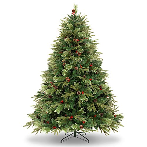 WBHome 6 Feet Luxurious Premium Spruce Hinged Artificial Christmas Tree with Pine Cones, 792 Branch Tips (Ponderosa Pine, Dunhill Fir and Douglas Fir), Unlit (6FT)