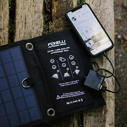 Foxelli Dual USB Portable Solar Power Charger 10W