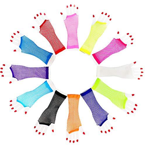 Neuheit Place Fishnet Handschuhe (12Stk) - Nylon Fingerless Diva Oversleeve Unterarm lang - Verschiedene Neonfarben Kostüm Zubeh?r Party Supplies Vintage Retro Stylish