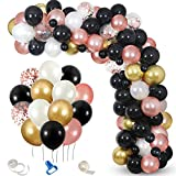 Black Rose Gold Balloon Garland Kit,White Gold Rose Gold Confetti Balloons for Graduations Bachelorette Retirement Bridal Shower Birthday Party Decorations